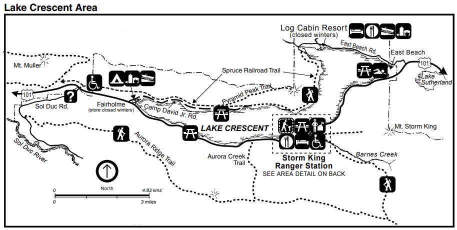 A map of the Lake Crescent area including Lake Crescent itself and the surrounding roads, hiking trails, rivers, creeks, the Storm King Ranger Station, Log Cabin Resort, and services such as campgrounds and boat launch sites.