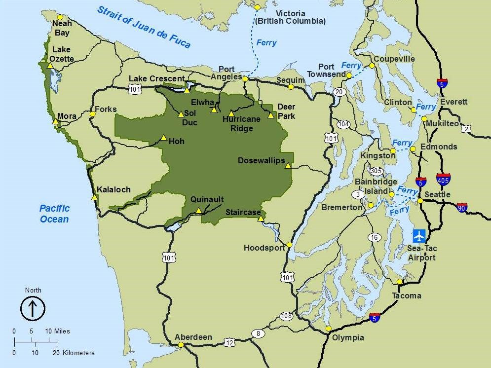 Getting Around Olympic National Park US National Park Service - National parks in us map