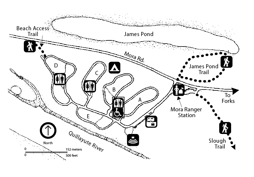 A map of the Mora area including Mora Road, James Pond, trails, campground, Mora Ranger Station, and the Quillayute River.