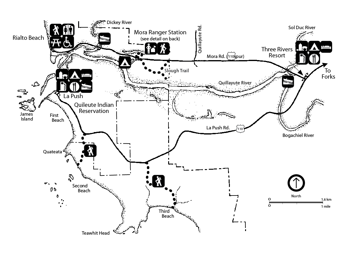 A map of the Mora and Rialto Beach areas, including roads, trails, boundaries with the Quileute Indian Reservation, services, trails, beaches, the town of La Push, the Three Rivers Resort, and the Quillayute and Bogachiel Rivers.
