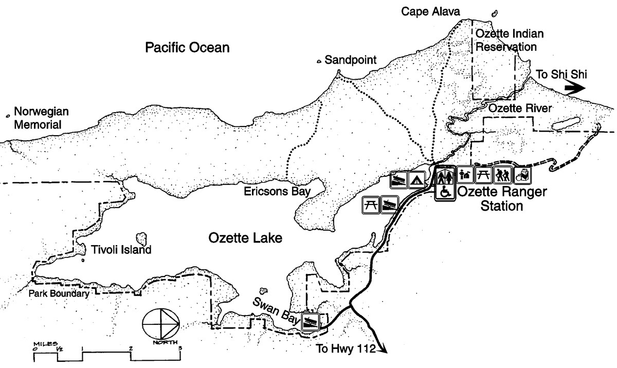 A map of the Lake Ozette area including Lake Ozette, roads, hiking trails, the Pacific Ocean, boat launches, a camping area, Olympic National Park Boundaries, Ozette Indian Reservation boundaries, and Ozette Ranger Station.