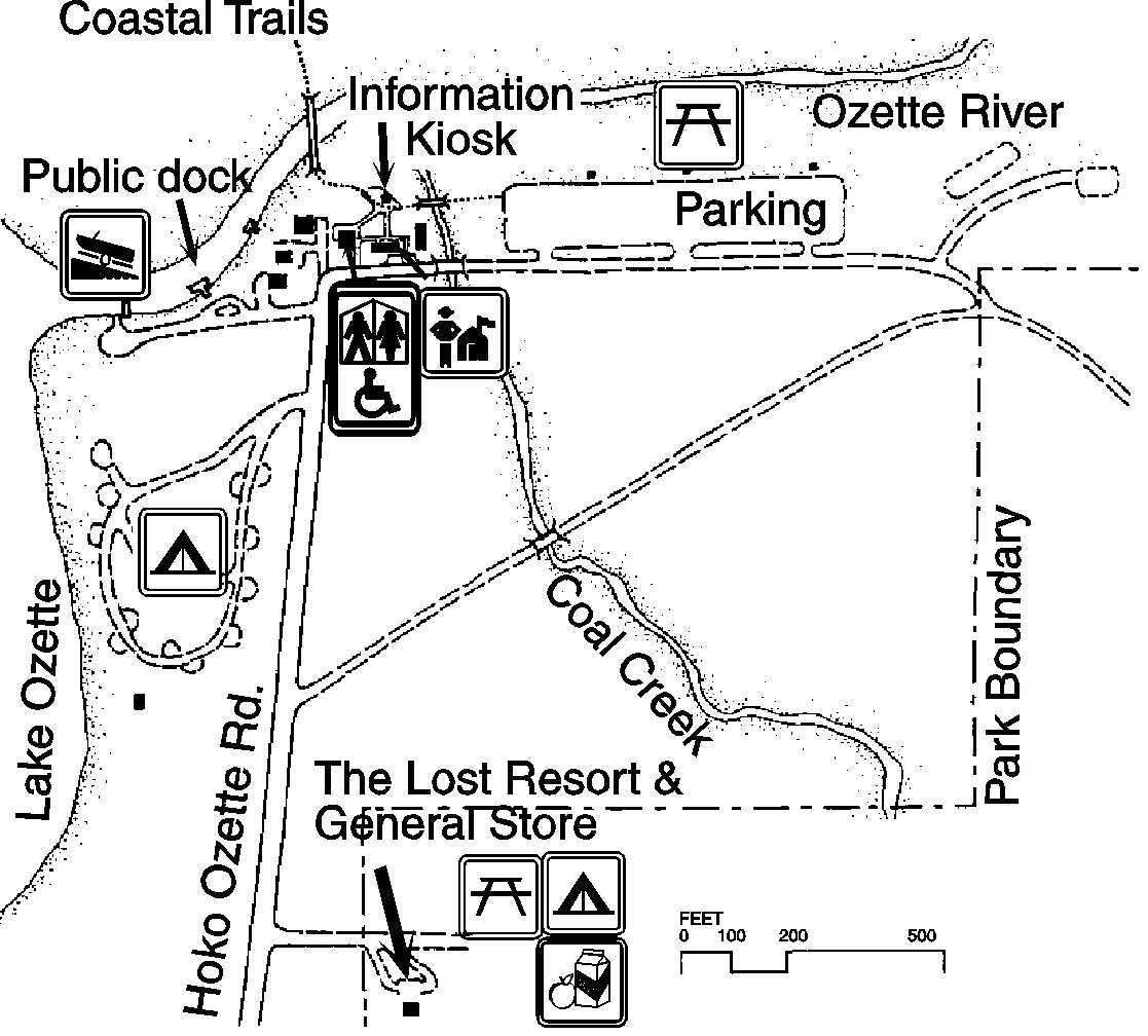 A map of the area around the Ozette Ranger Station, including parking areas, Hoko-Ozette Road, the beginning of coastal trails, and an information kiosk