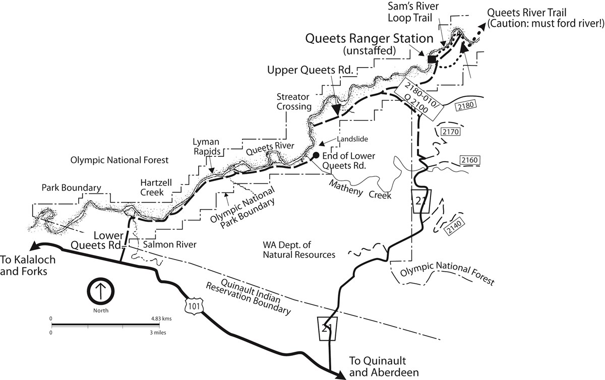 A map of the Queets area of Olympic National Park, including roads, trails, the Queets River, boat launches, and a campground.