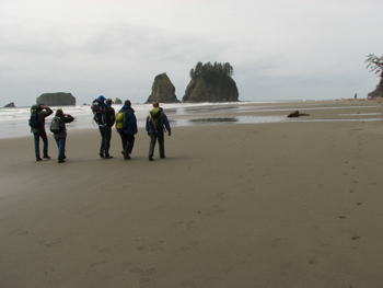 Hikers on Second Beach