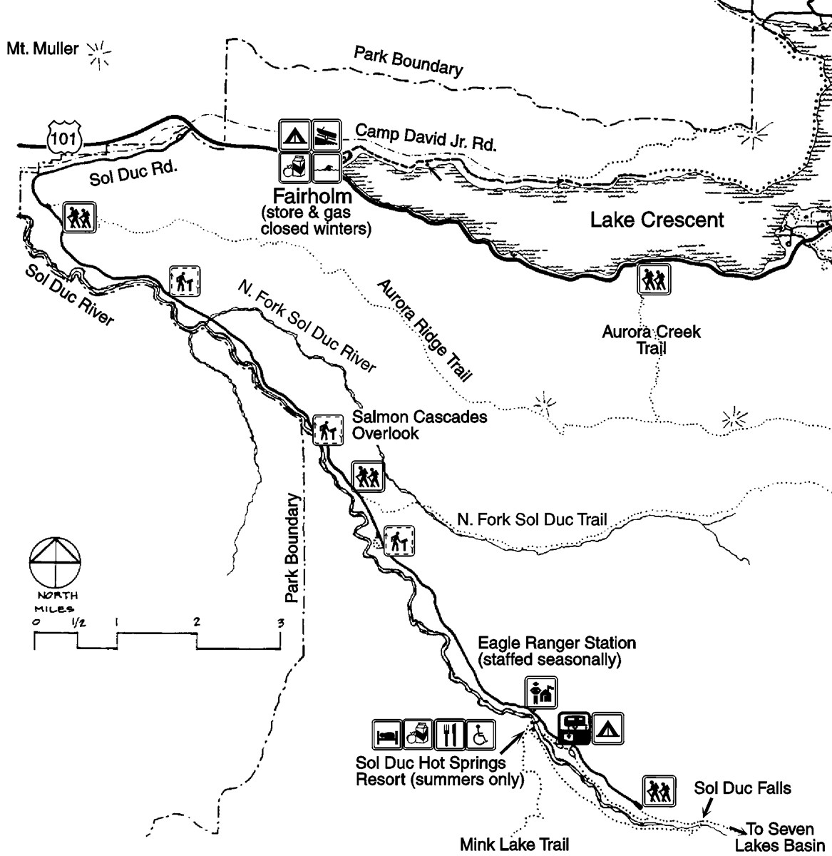 A map of the Sol Duc area including roads, the Sol Duc River, hiking trails, Eagle Ranger Station, Lake Crescent, camping areas, and the Sol Duc Hot Springs Resort