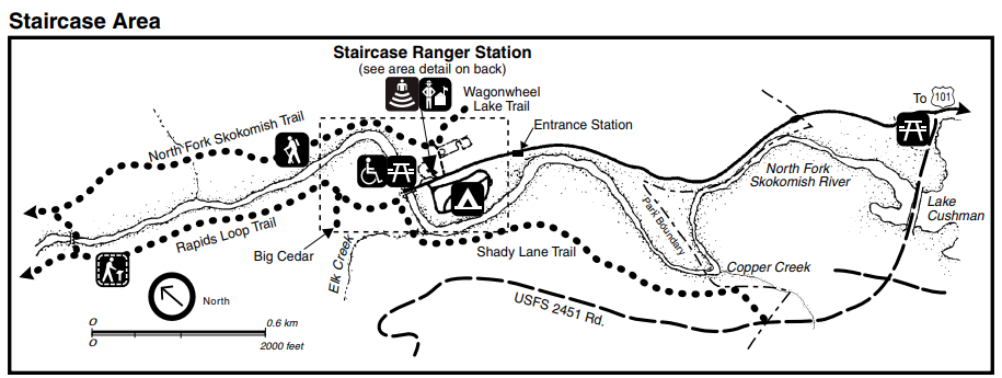 A map of the Staircase area including roads, trails, the North Fork Skokomish River, picnic areas, campground, and the Staircase Ranger Station