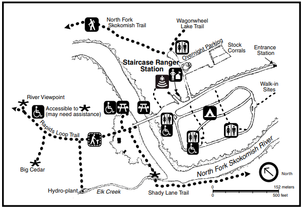 A map of the area around the Staircase Ranger Station, including the Staircase Ranger Station itself, the North Fork Skokomish River, roads, parking, trails, campground, restrooms and picnic areas.