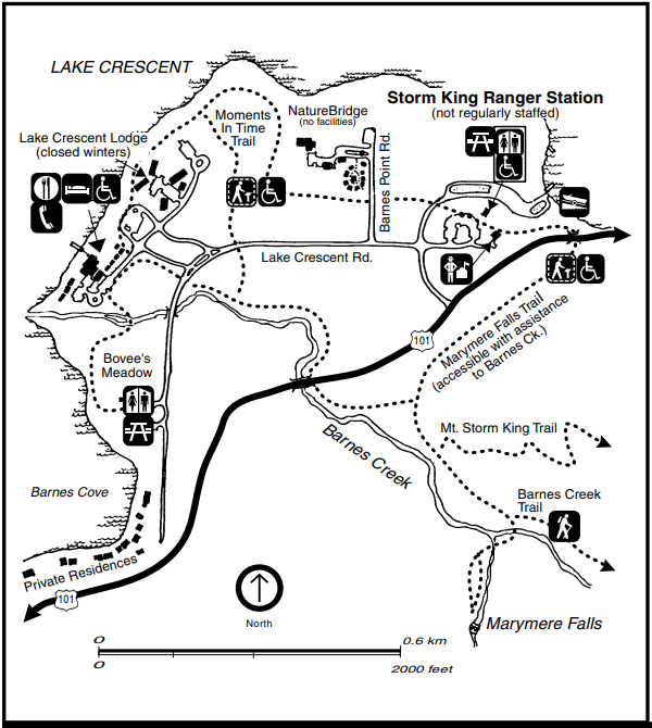 A map of the Storm King and Barnes Creek area near Lake Crescent, including the lake shore, hiking trails, Highway 101, Barnes Creek, and the facilities of Lake Crescent Lodge, NatureBridge, and Storm King Ranger Station.