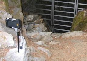 Photomonitoring station at a cave entrance.
