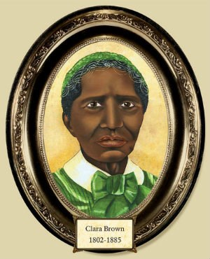 "oval framed painting of African American woman labeled ""Clara Brown 1802-1885"""