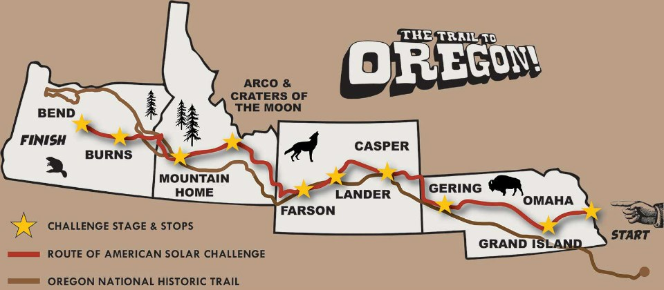 map showing roughly parallel routes of American Solar Challenge and historic Oregon Trail