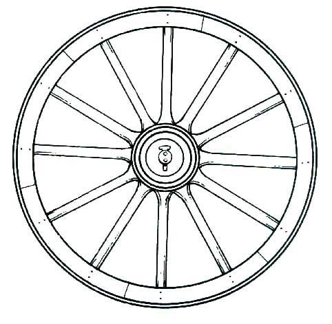 line drawing of wooden wagon wheel: a circle with 12 spokes radiating out from center