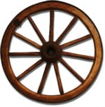 wooden wheel with eight spokes and an iron rim, against a blank background