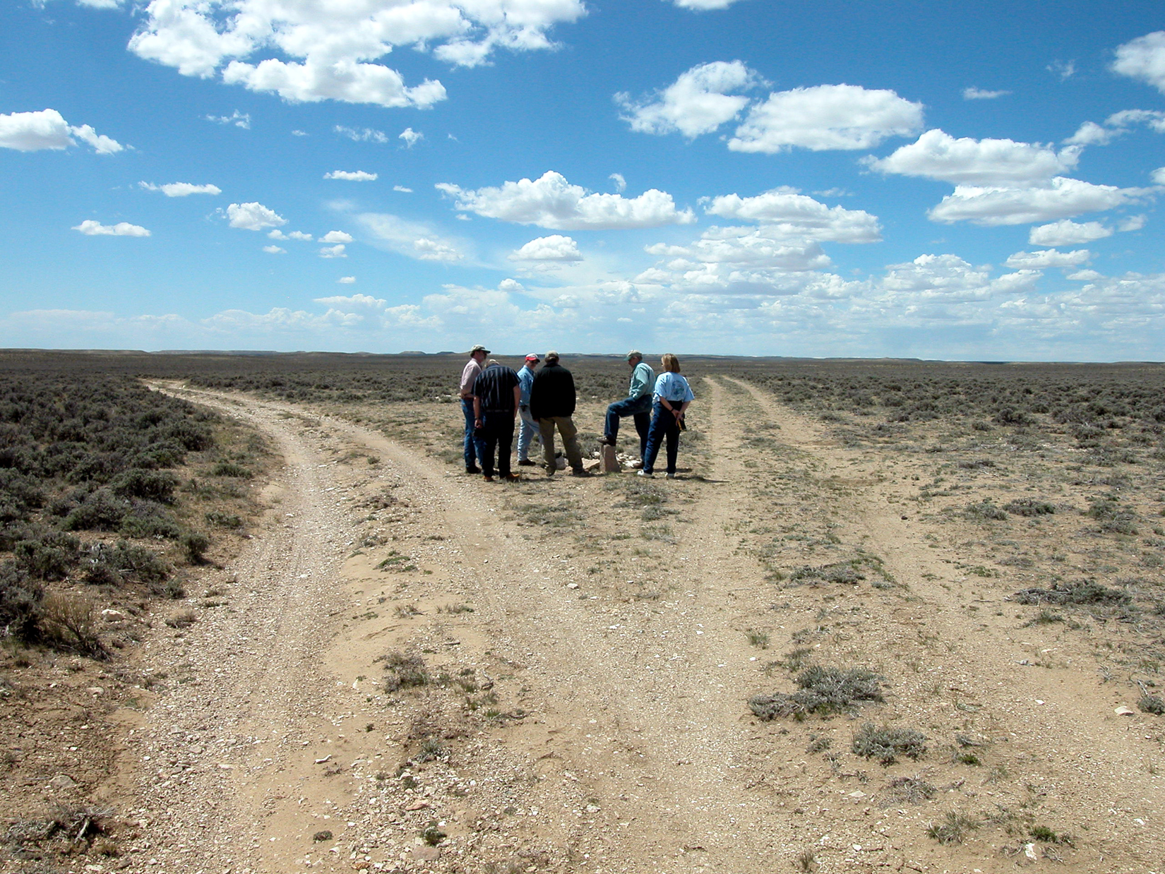 Planning team members visit the Part of the Ways junction where California and Oregon trail emigrants separated.