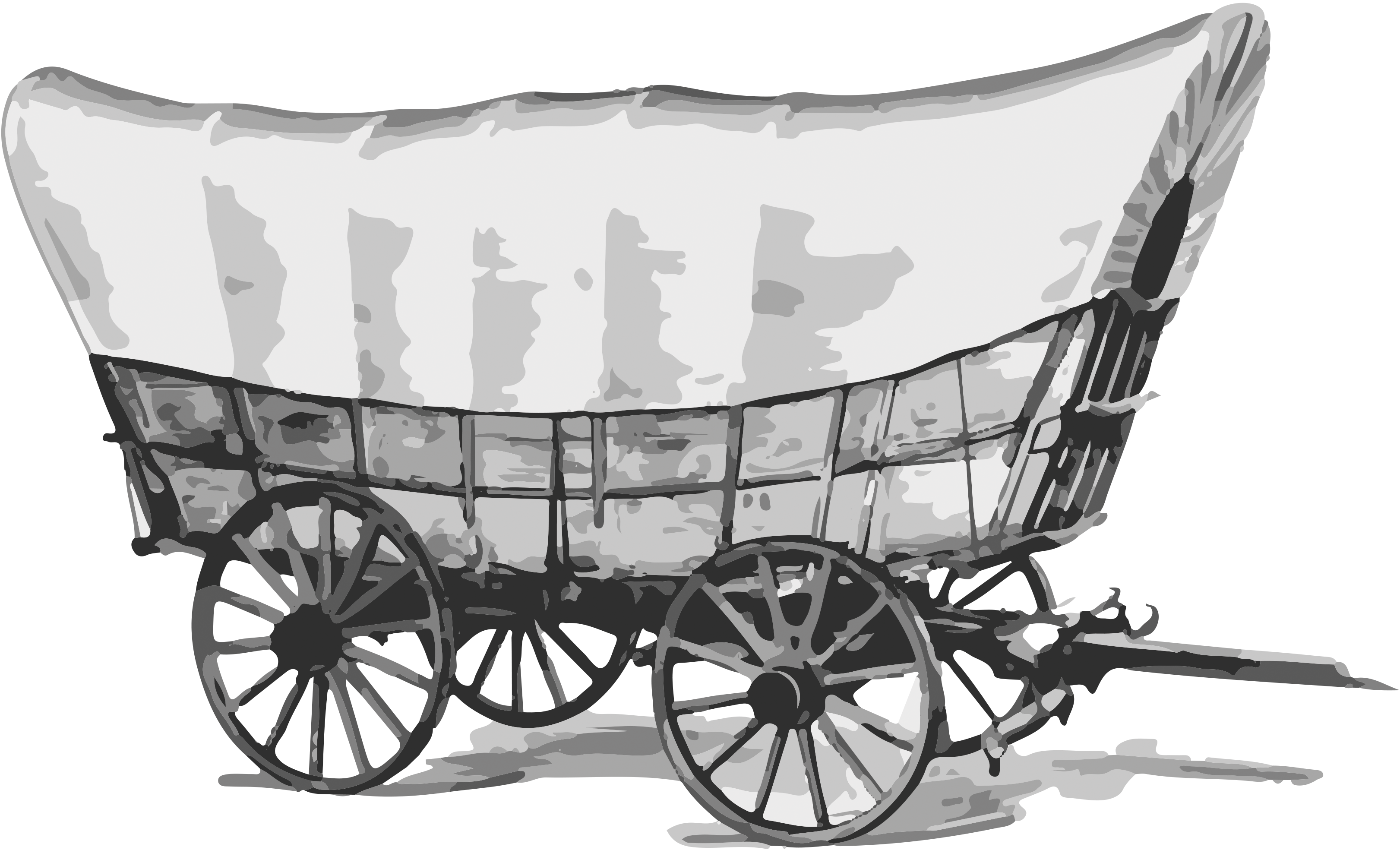 drawing of a covered wagon