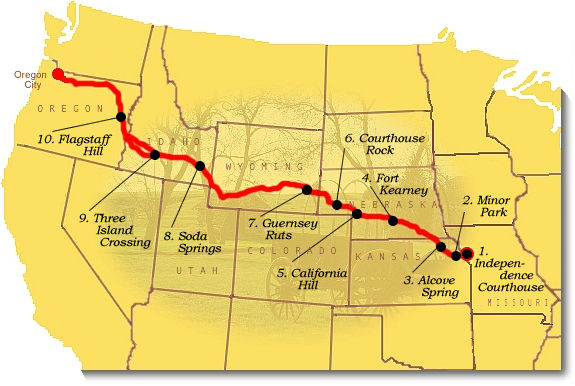 Recommended Sites Oregon National Historic Trail US National – Oregon Tourist Map