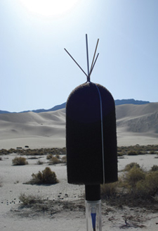 A microphone with a desert landscape in the background.