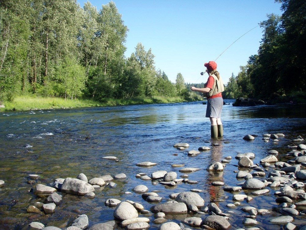 Single fly fisherman on the South Santiam River, Oregon