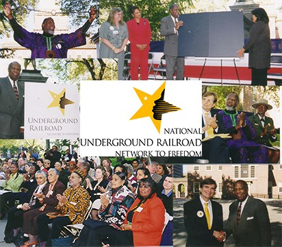 A collage of original images from the launch of the Network to Freedom program in Philadelphia, PA.