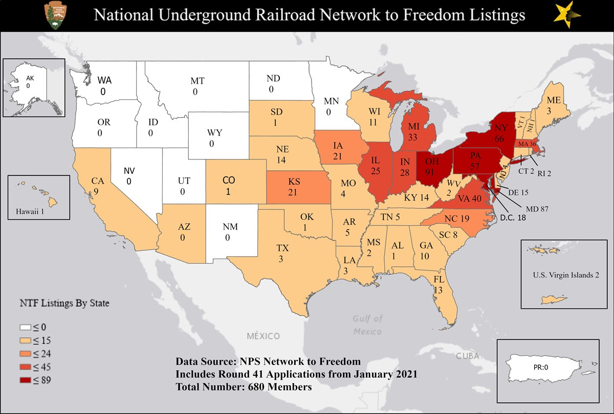 Map showing the number of Network to Freedom Listings in each state.