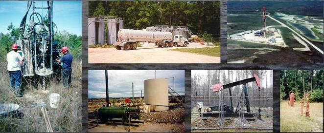 Series of photos showing oil and gas operations including oil wells, fields, and trucks