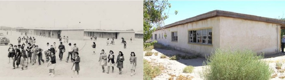 A historic photo of a Japanese internment camp and a contemporary photo of a similar building