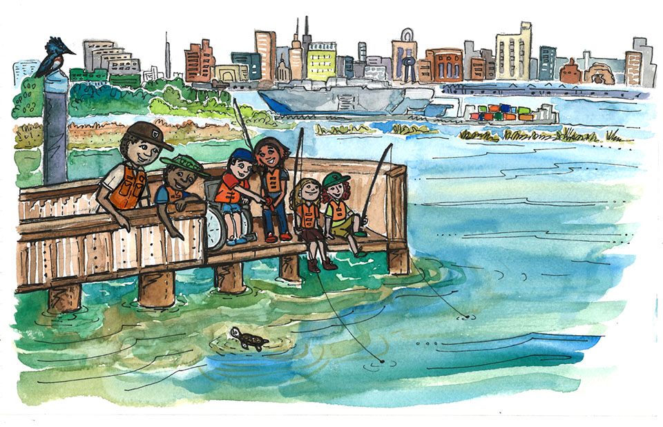 A drawing of children and rangers fishing from a pier in a river with buildings in the background.