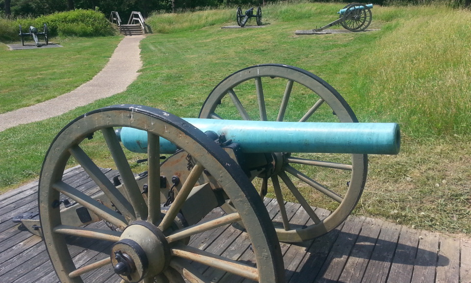 Image of historic canons on battlefield