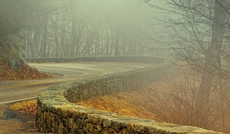 Skyline Drive and rock wall in the fog