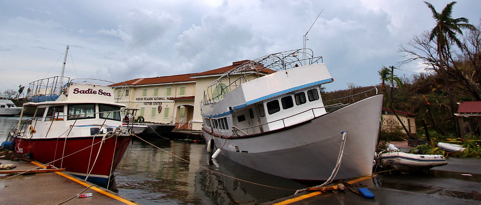 Ferry boat resting on dock after storm damage