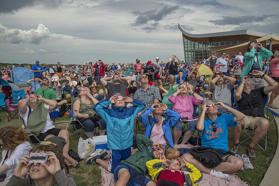 Visitors at Homestead National Monument enjoy the total solar eclipse on Aug. 20, 2017