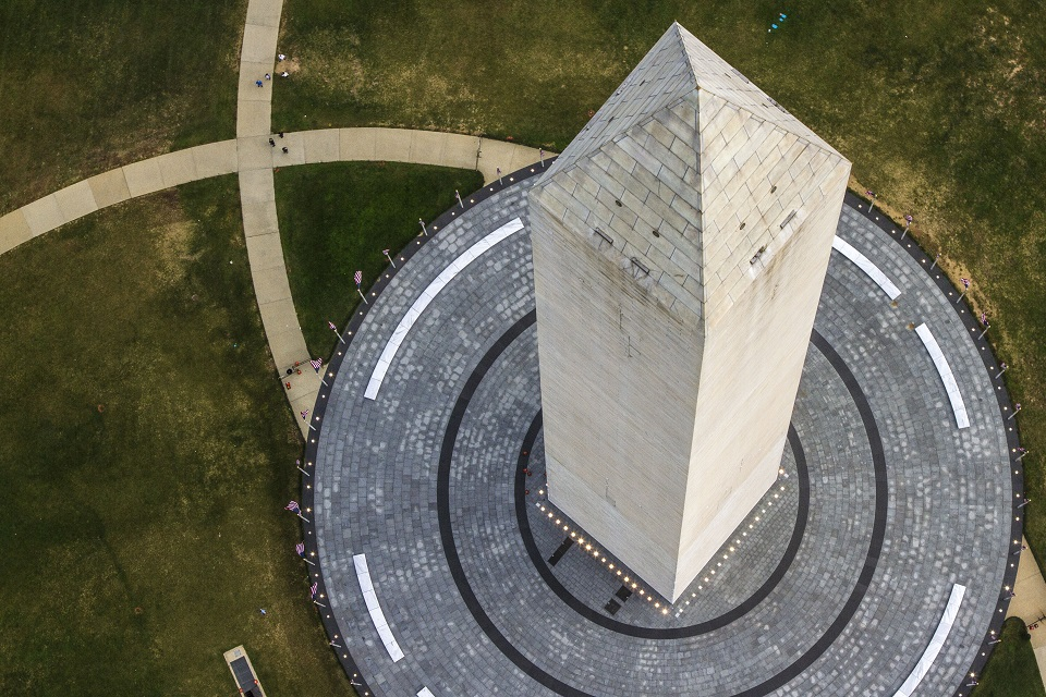 Aerial view of the Washington Monument