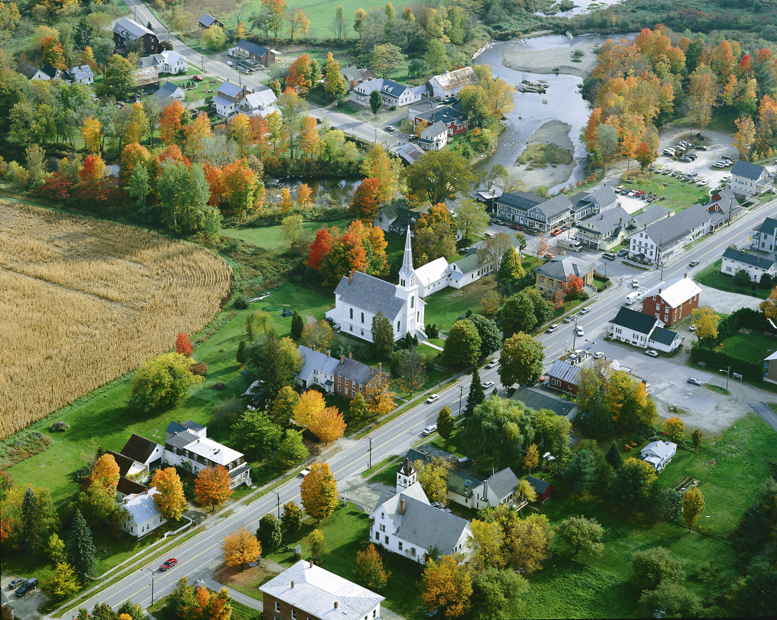 Aerial view of a small rural town.