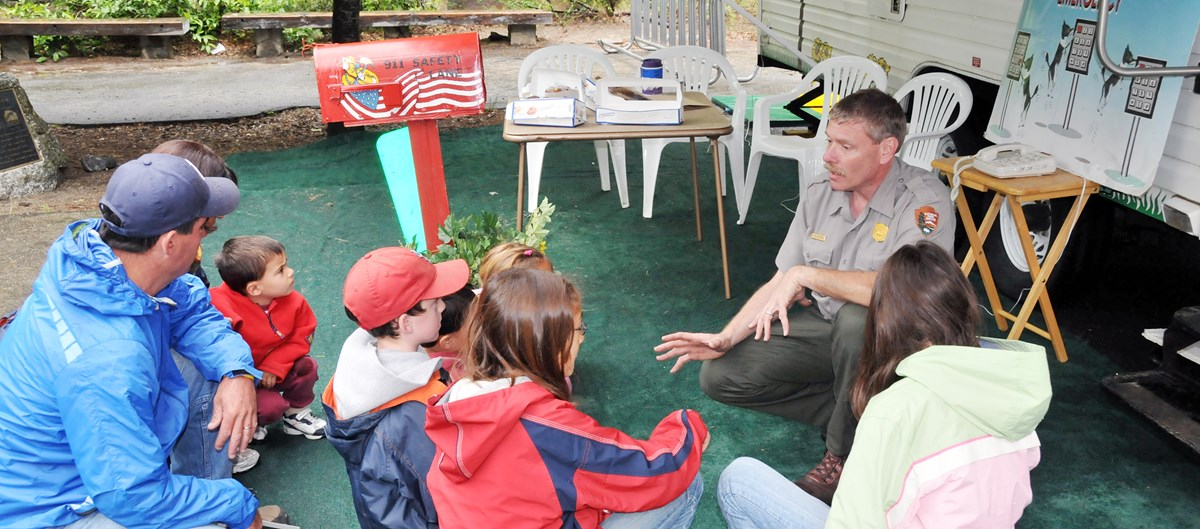 Park ranger talks with family about fire safety