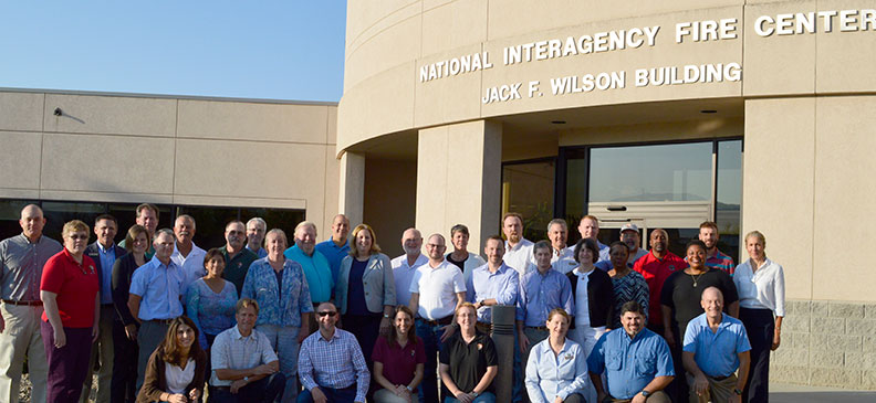 New superintendents gathered outside the headquarters building of the National Interagency Fire Center.