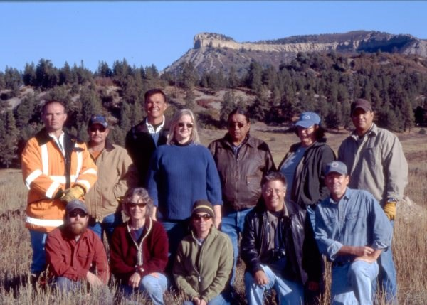 Group photo after a reburial Western Colorado with representatives of the Ute Mountain Ute Tribe, the CO Commission of Indian Affairs, the CO Dept of Highways and the Colorado Historical Society