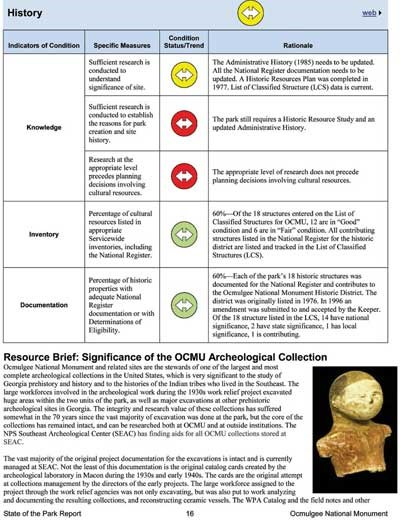 The image is a screenshot of a page in a report. The page shows condition information with colored circles with arrows. A small image of a human statue is included in a paragraph about archeological collections.