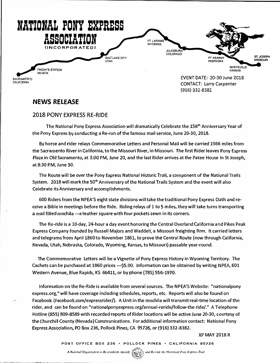 Image of the 2018 Pony Express Re-Ride News Release