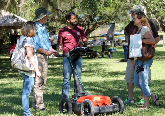 SEAC staff speak to the public about ground penetrating radar technology