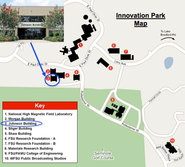 map showing the location of SEAC in Innovation Park, Tallahassee, FL