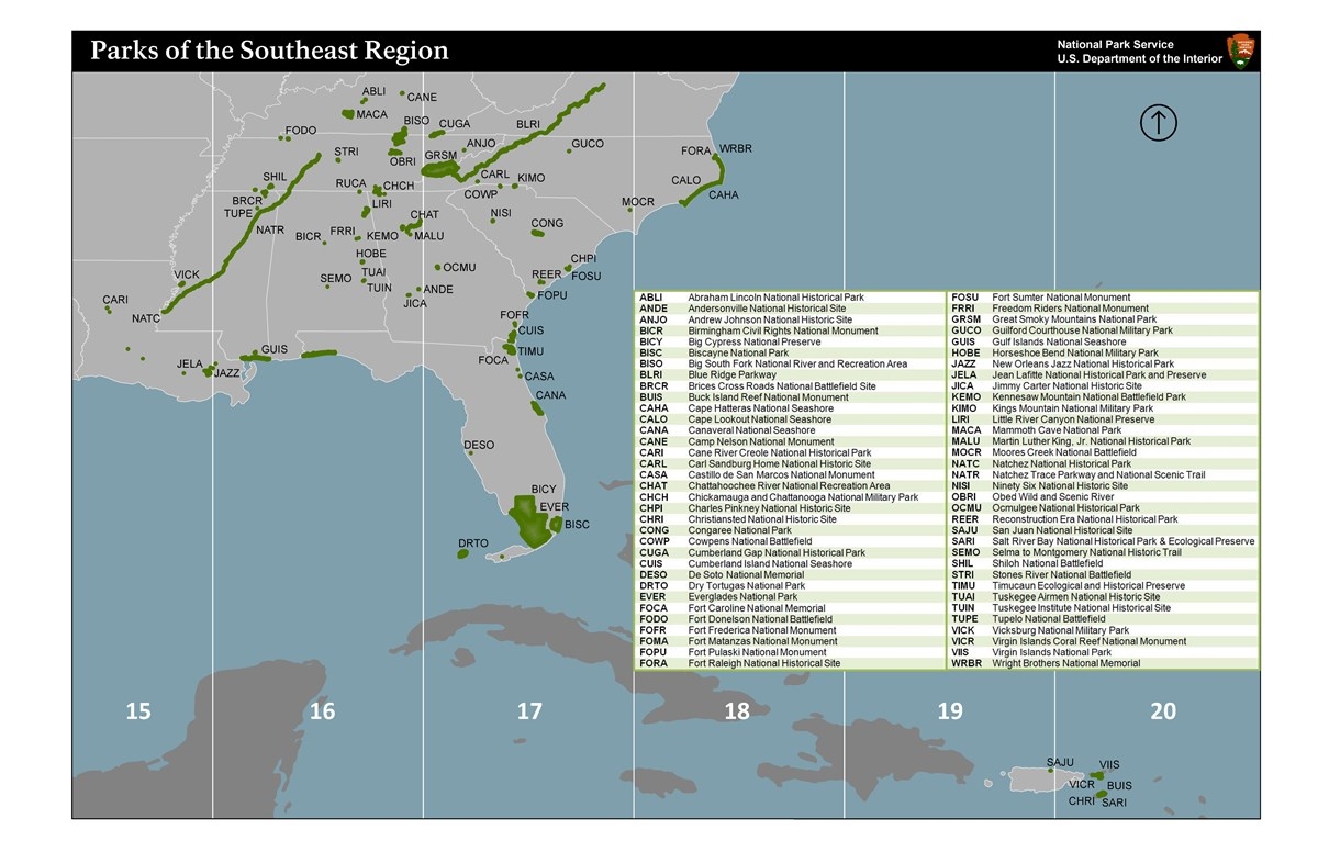 Map of parks in Southeast Region
