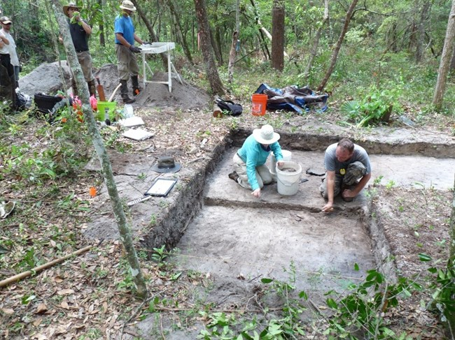 SEAC archeologists excavating at Harrison Ring at Tyndall Air Force Base