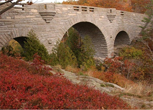 a stone bridge with archways over a creek in fall