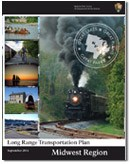 Cover of the Midwest Region Long Range Transportation Plan depicting various types of transportation, such as trains, bikes, canoes, boats, etc....