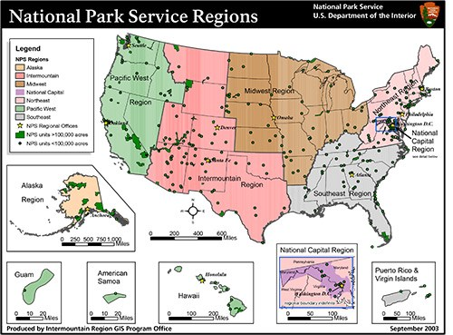 Regional boundaries of the National Park Service