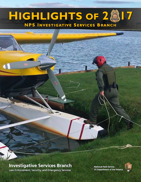 On the cover of the 2017 Highlights of ISB, a Special Agent steps onto the float of a sea plane in Alaska. NPS photo.
