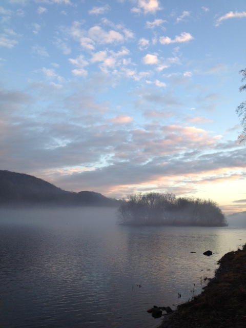 Mist hangs over water and an islet in Delaware Water Gap National Recreation Area. NPS photo.