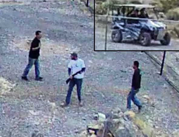 Security cameras captured images of the men and OHV involved in vandalism at Devils Hole. NPS photo by the Investigative Services Branch.