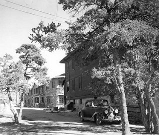 A 1937 NPS photo of Colter Hall in Grand Canyon National Park.