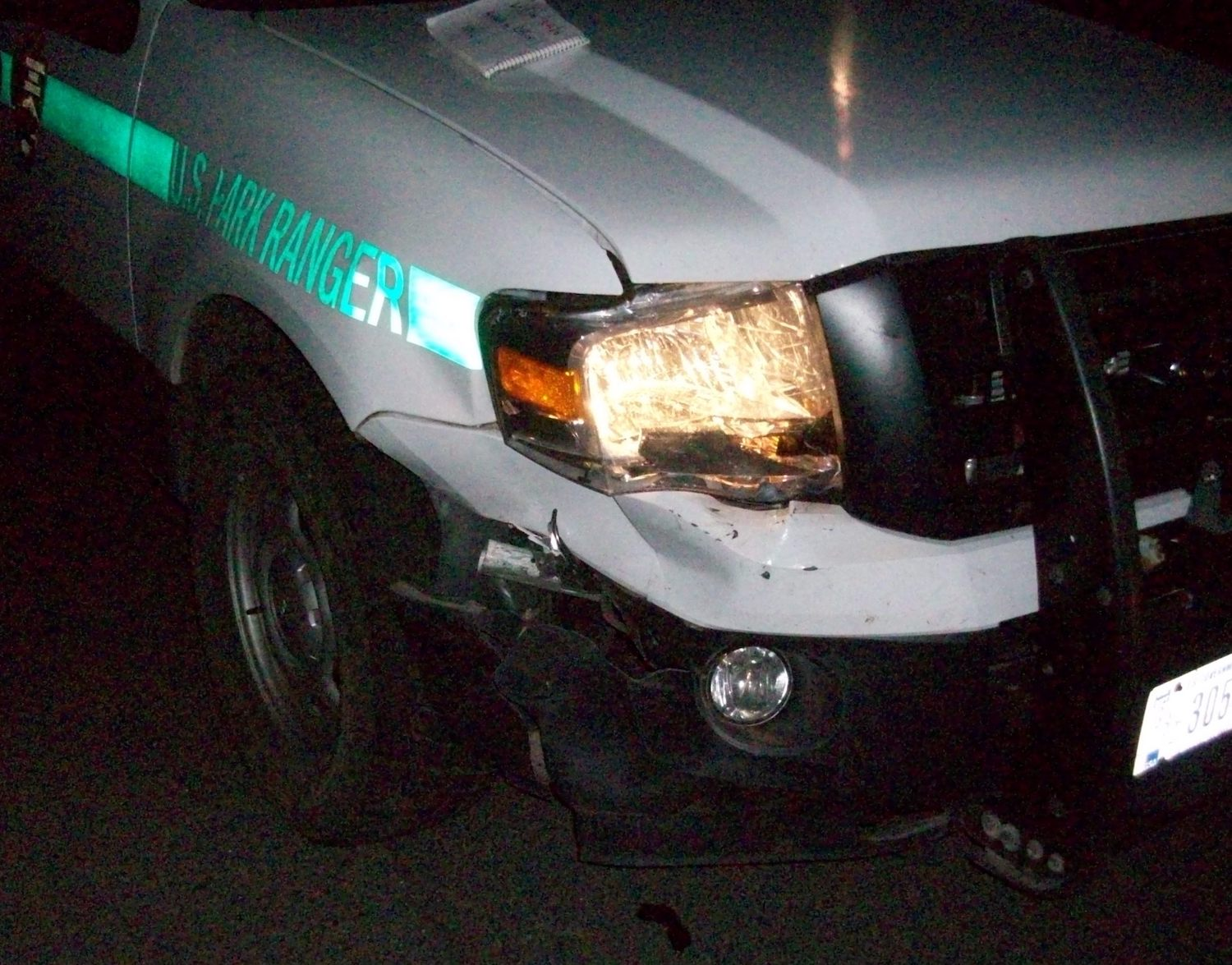 A man rammed a US Park Ranger's patrol vehicle. NPS photo.